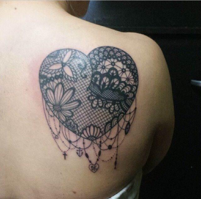 Heart shaped lace tattoo design