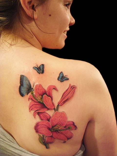Butterflies with Lilies