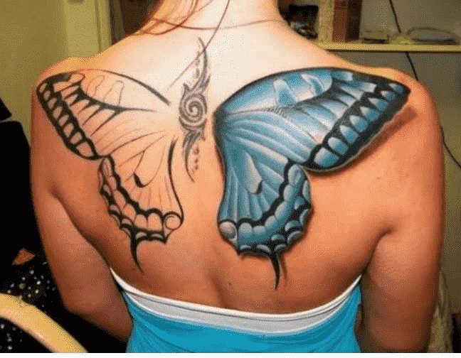 Half Colored Butterfly Wings Tattoo