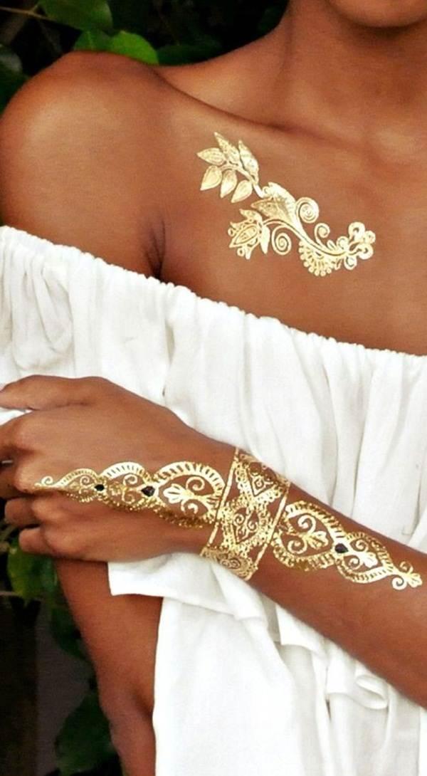 metallic tattoo designs for women34