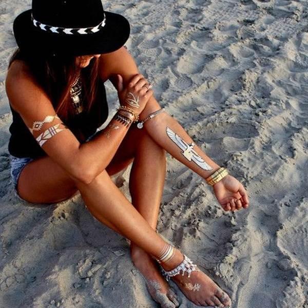 metallic tattoo designs for women50