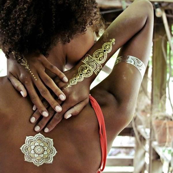 metallic tattoo designs for women25