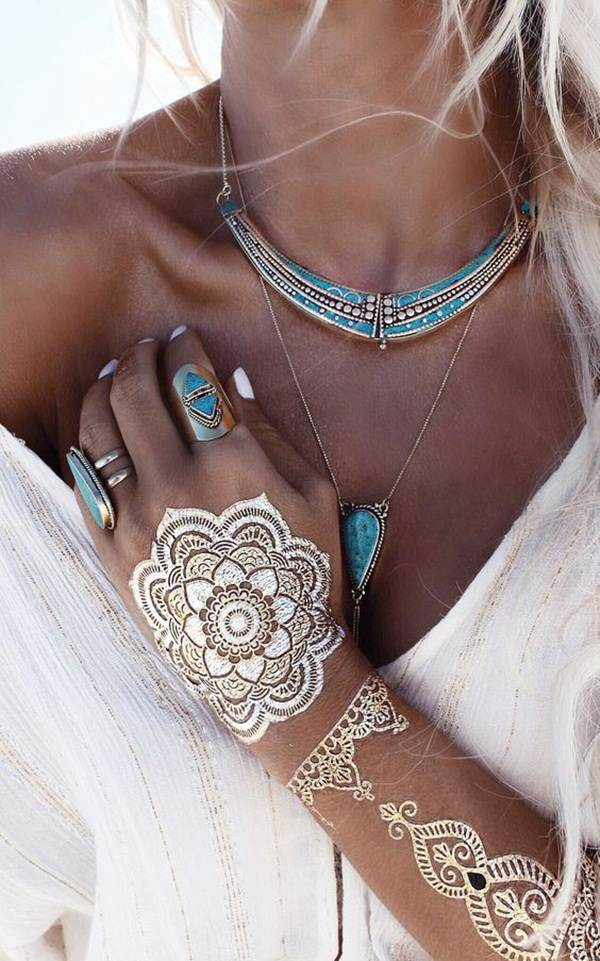 metallic tattoo designs for women69