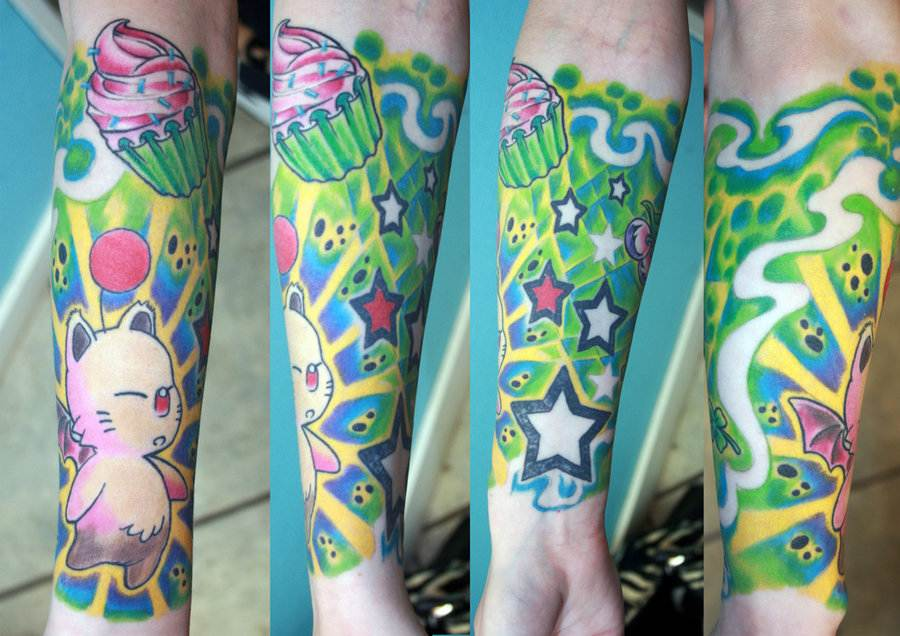 Full sleeve tattoo in colors