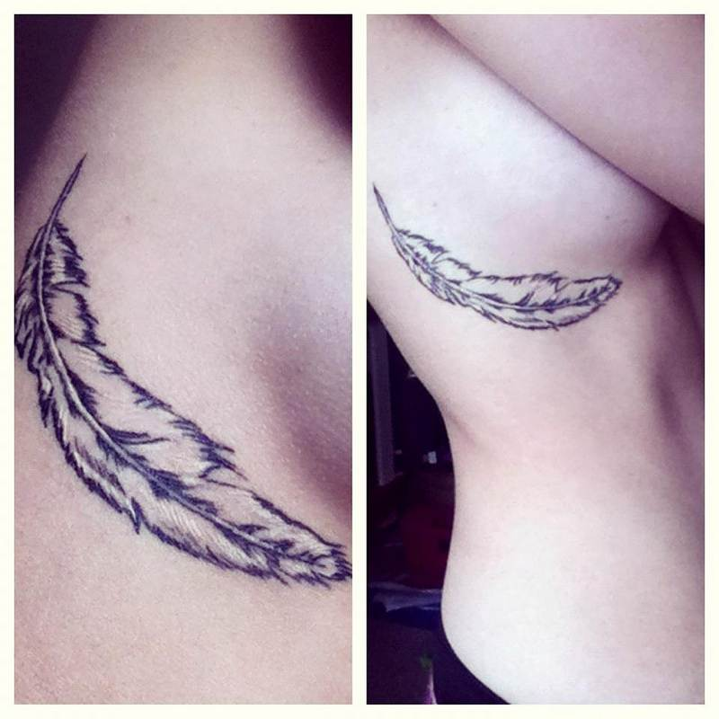 Feather Tattoo Designs for Sexy Girls
