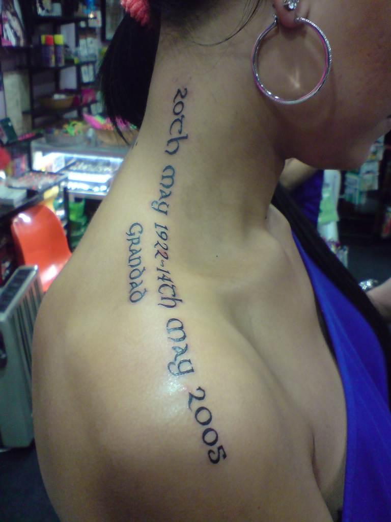 Shoulder Text Tattoo Designs for Women