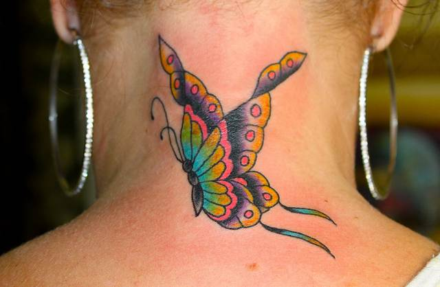 Butterfly Tattoos on Neck