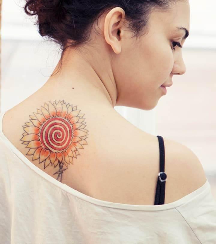 girl tattoo sunflower
