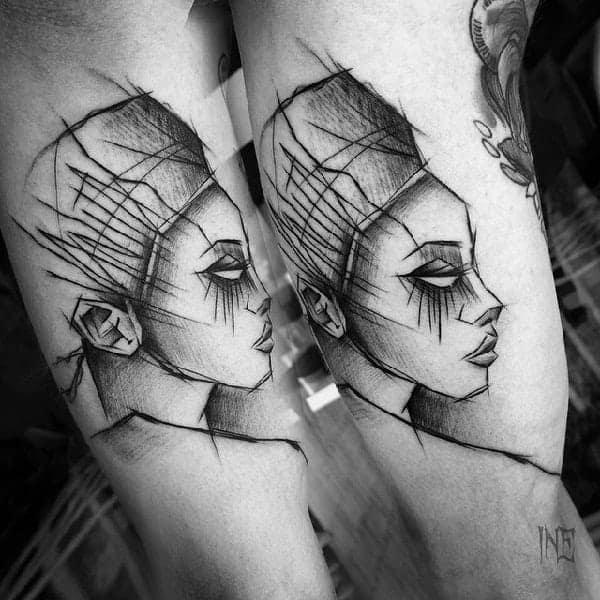 sketch-tattoos-ideassketchy-girl-tattoo-on-arm-by-inez-janiak