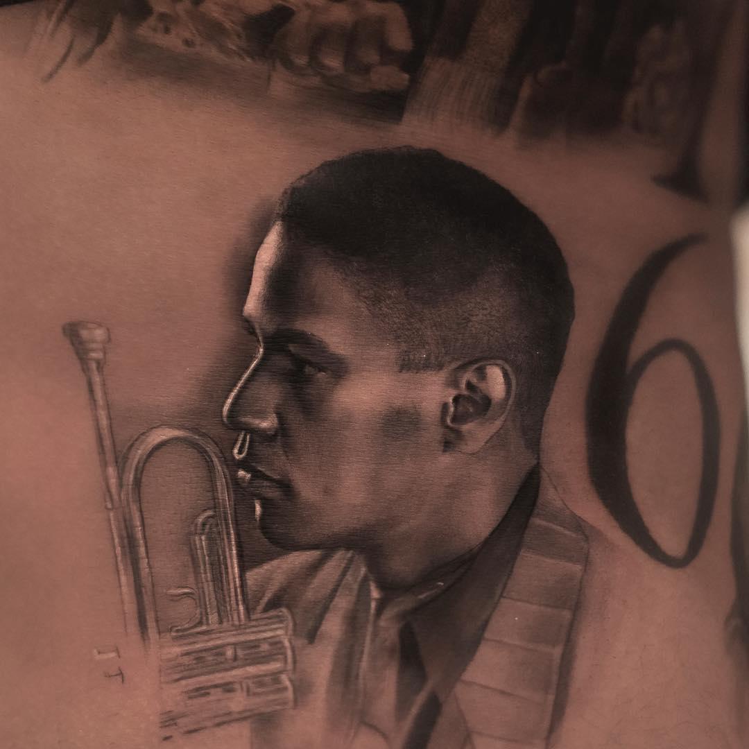 drake denzel washington portrait tattoo