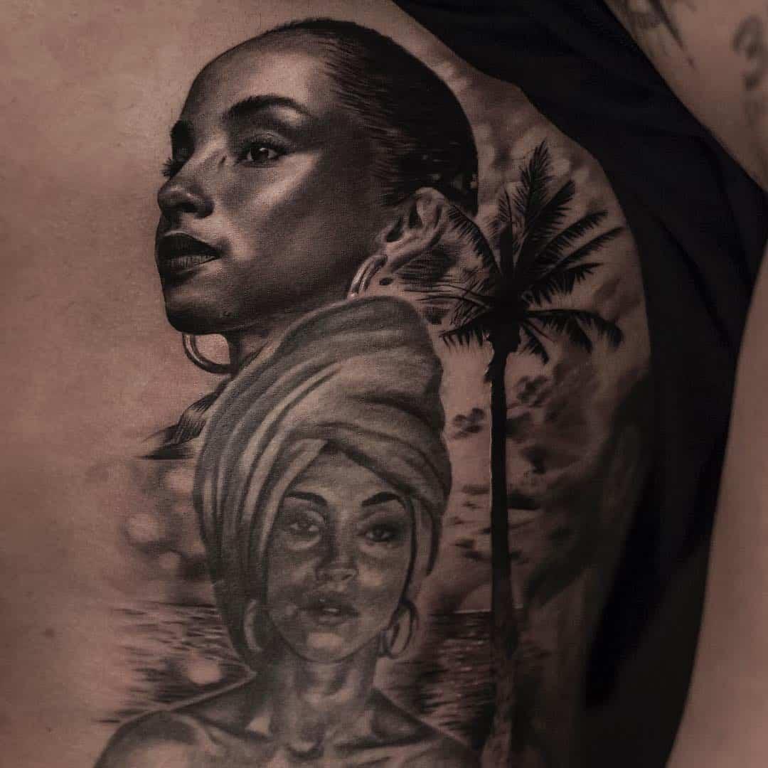 drake sade adu portrait tattoo