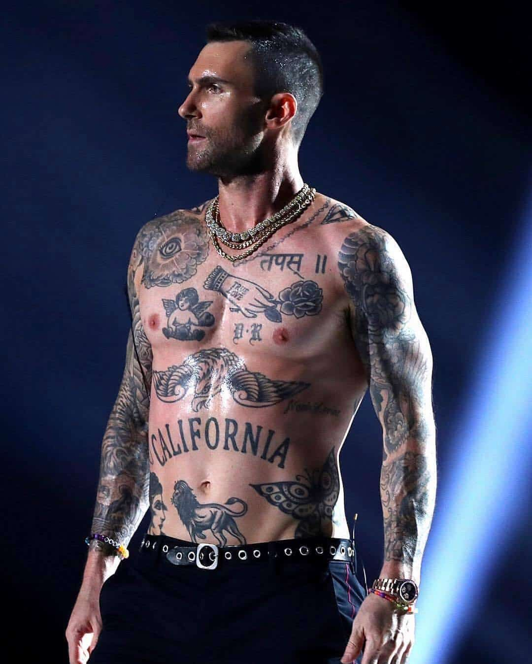 adam levine true love with a rose tattoo