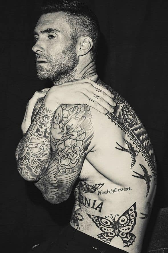 adam levine butterfly tattoo