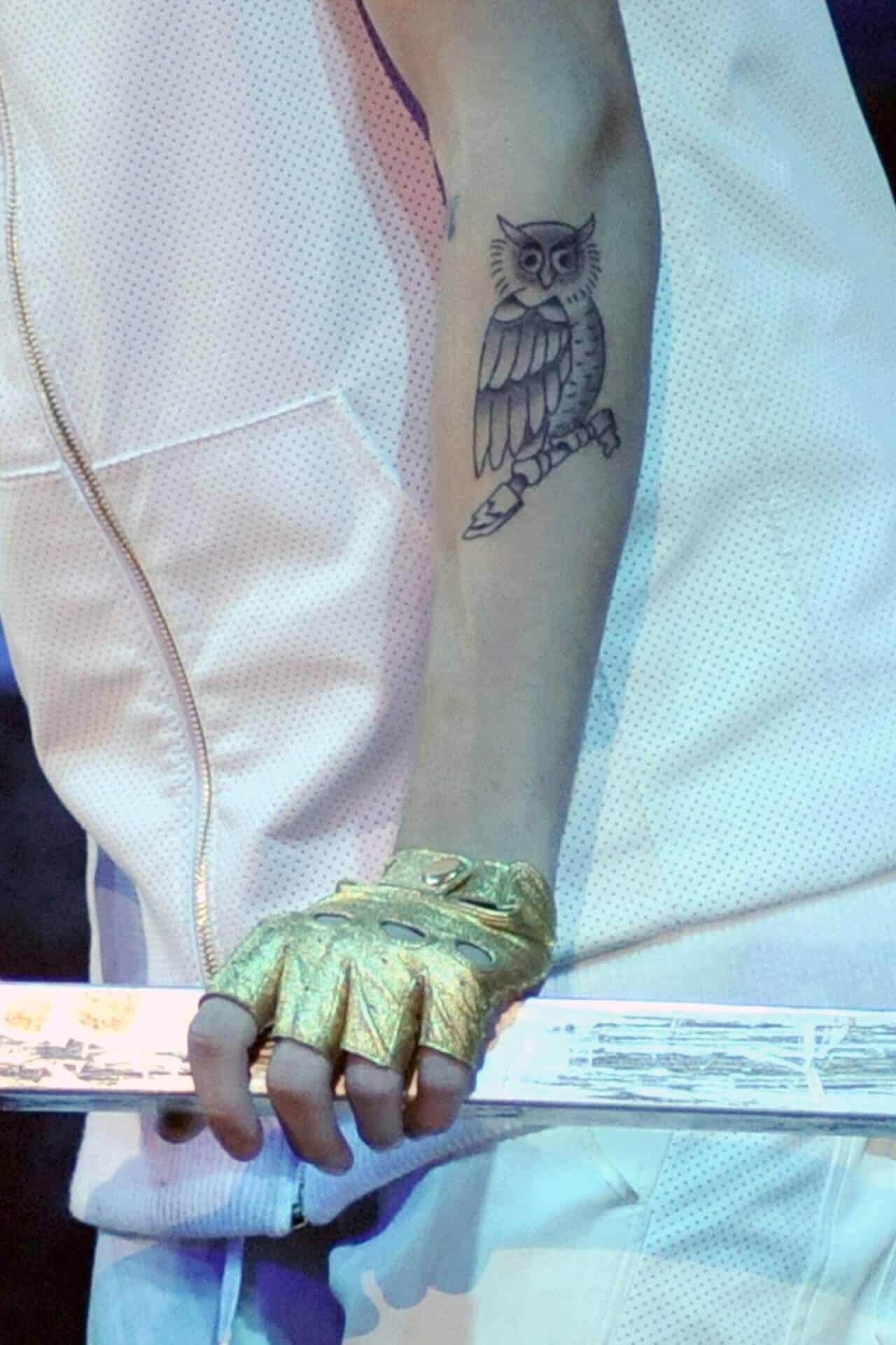 justin bieber owl tattoo