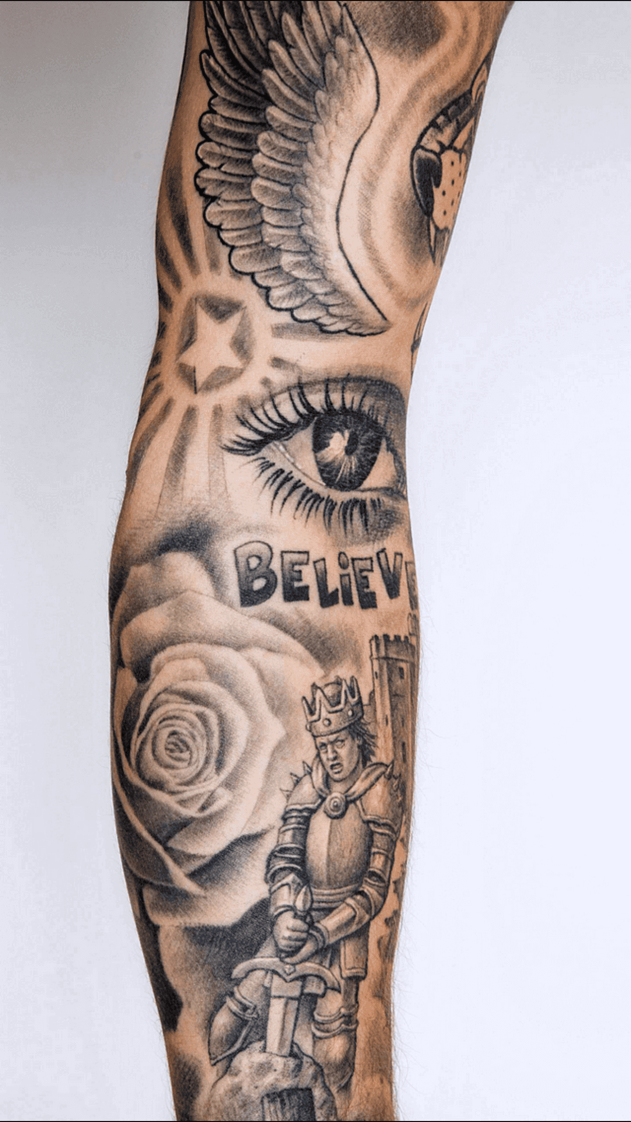 justin bieber knight and sword tattoo