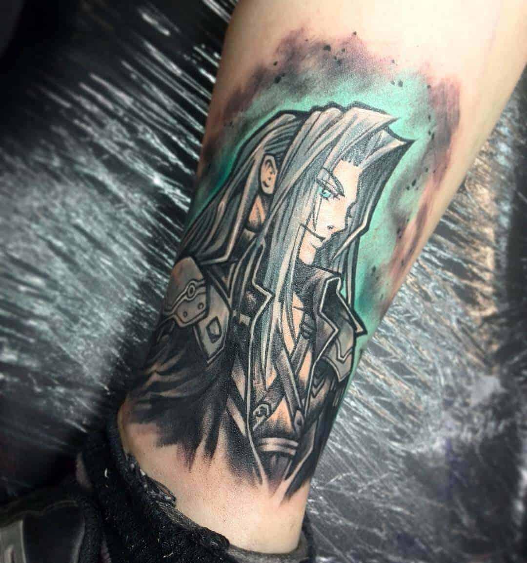 sephiroth tattoo on leg