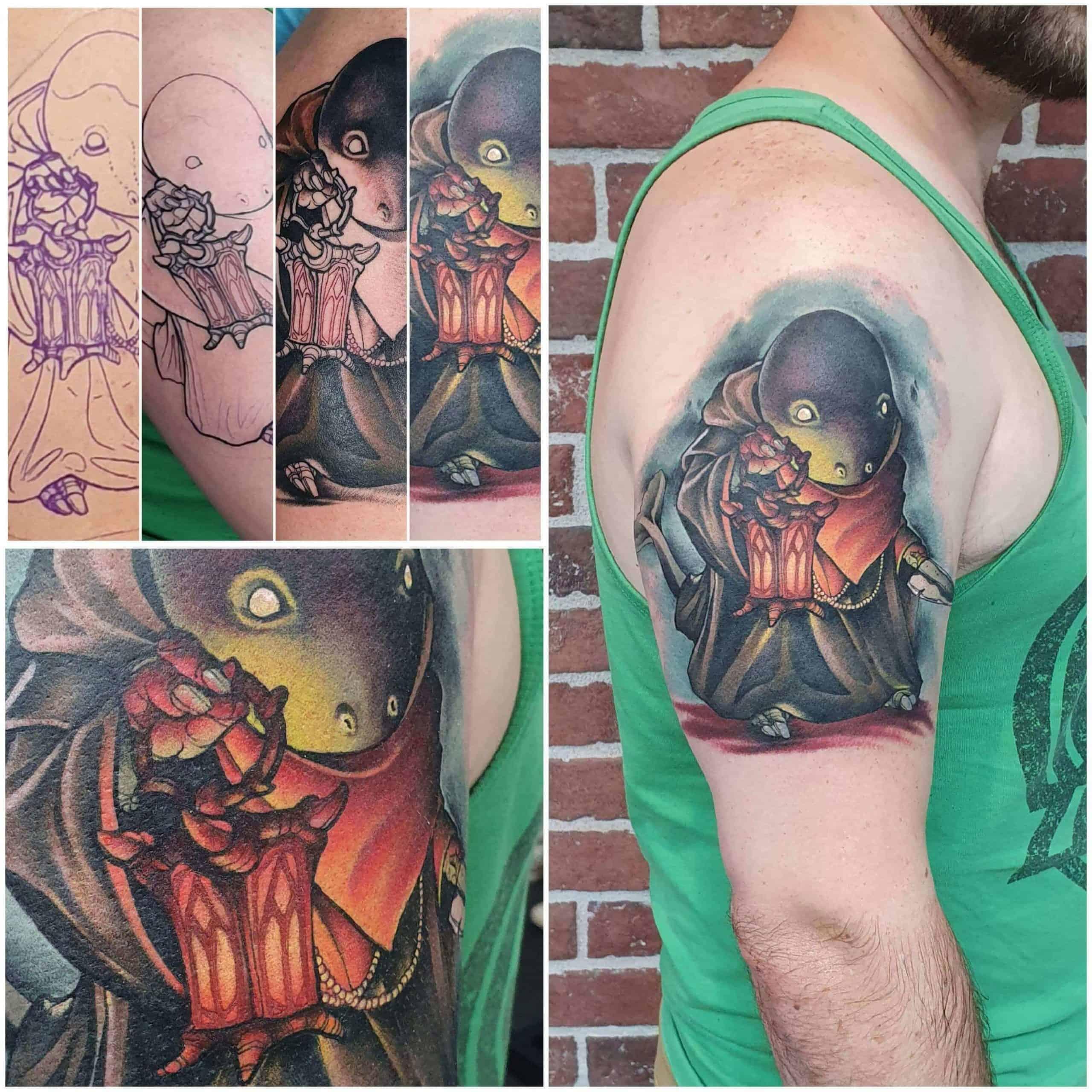 tonberry tattoo on arm