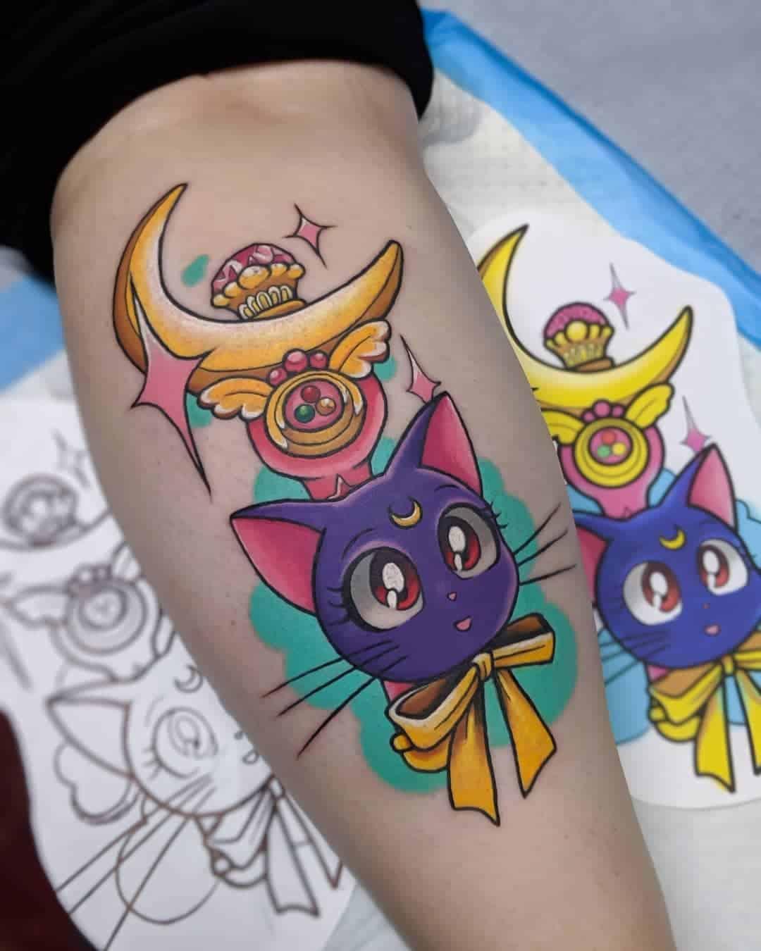 luna sailor moon tattoo on arm