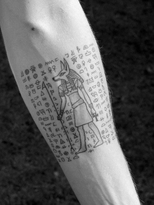 hieroglyphics egyptian tattoo on arm