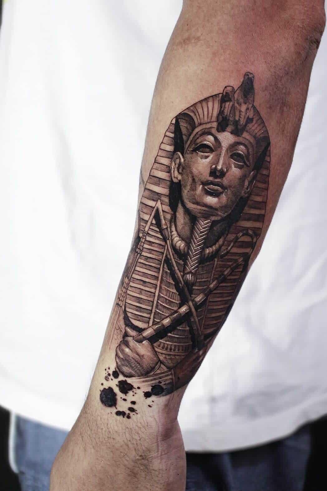 pharaoh egyptian tattoo on arm