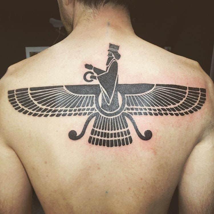 egyptian tattoo on back