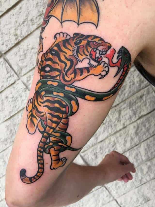 sailor jerry tiger tattoo on arm