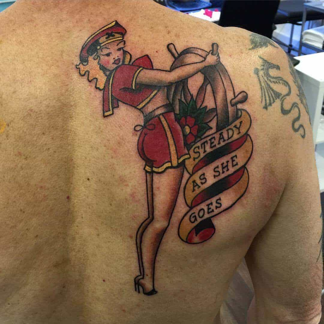 sailor jerry pinup tattoo on back