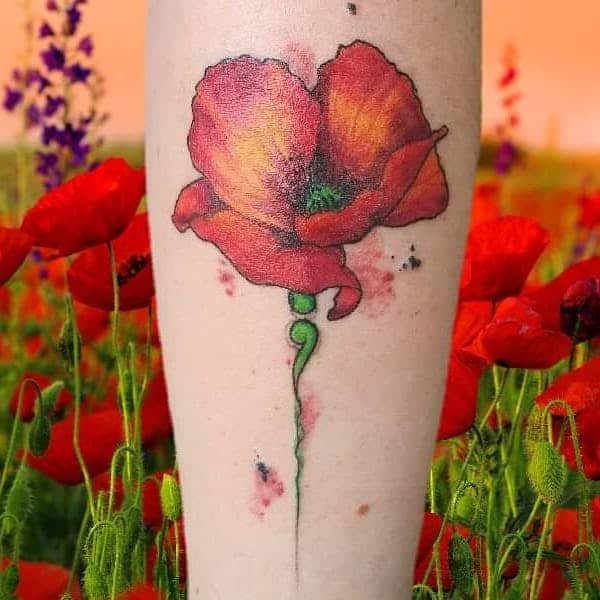 flower semicolon tattoo on arm