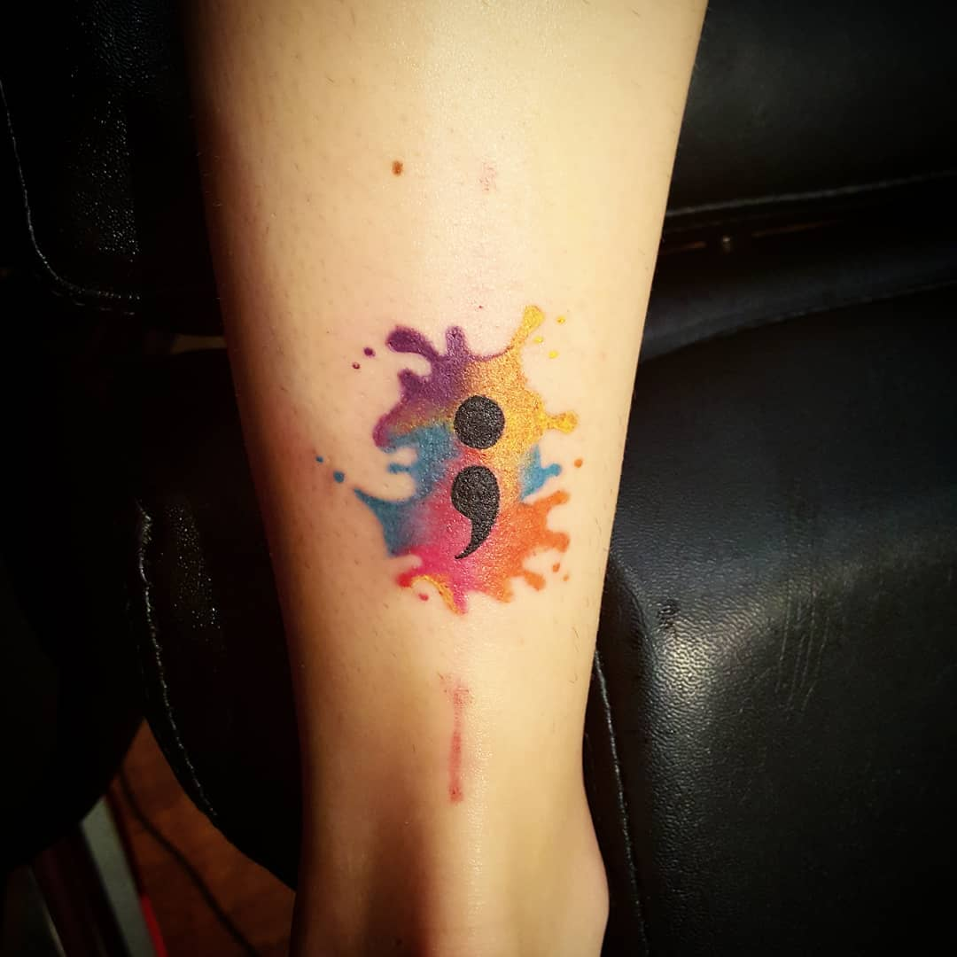 watercolor semicolon tattoo