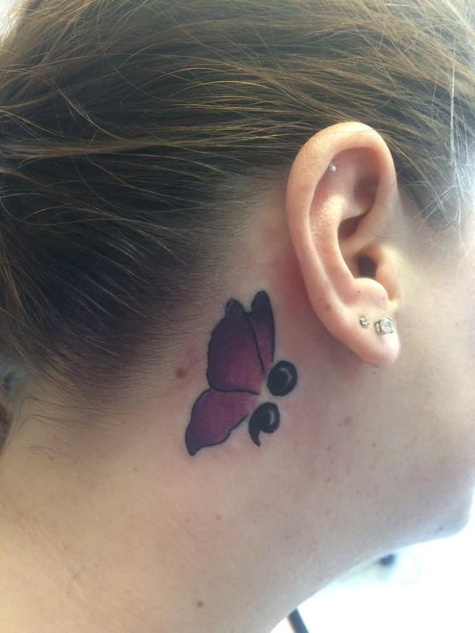 semicolon ear tattoo