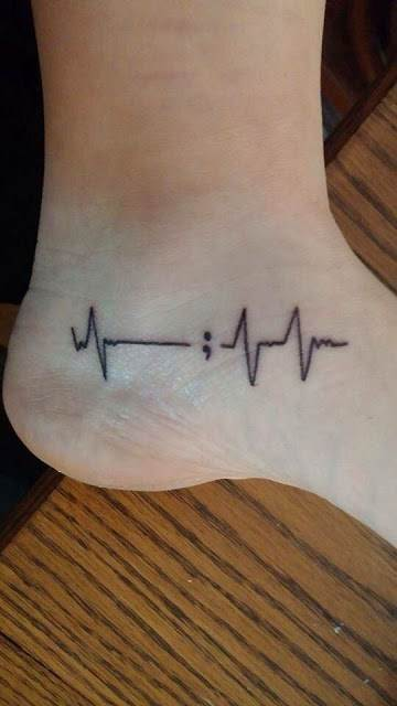 semicolon ankle tattoo
