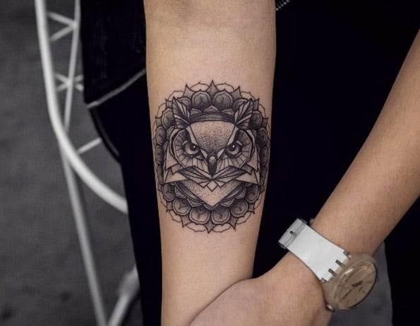Mandala owl piece on forearm by Kristi Walls