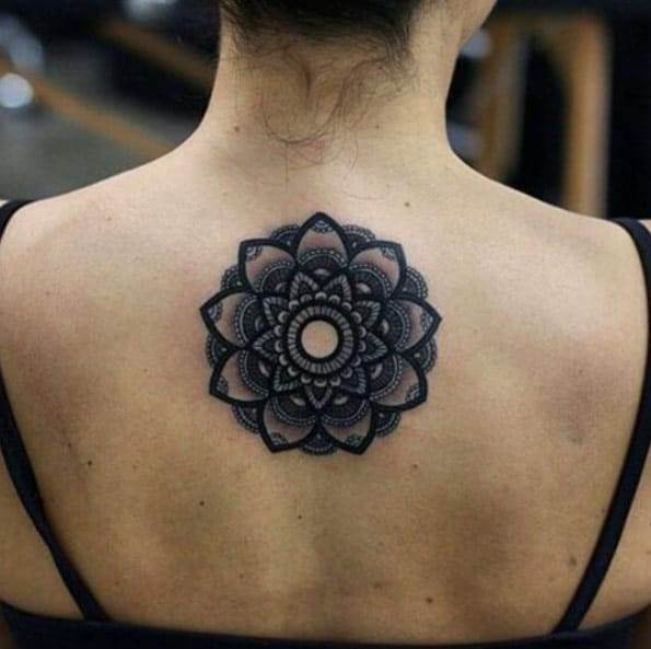 Blackwork mandala back piece by Kristi Walls