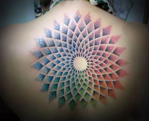 Colorful geometric back piece