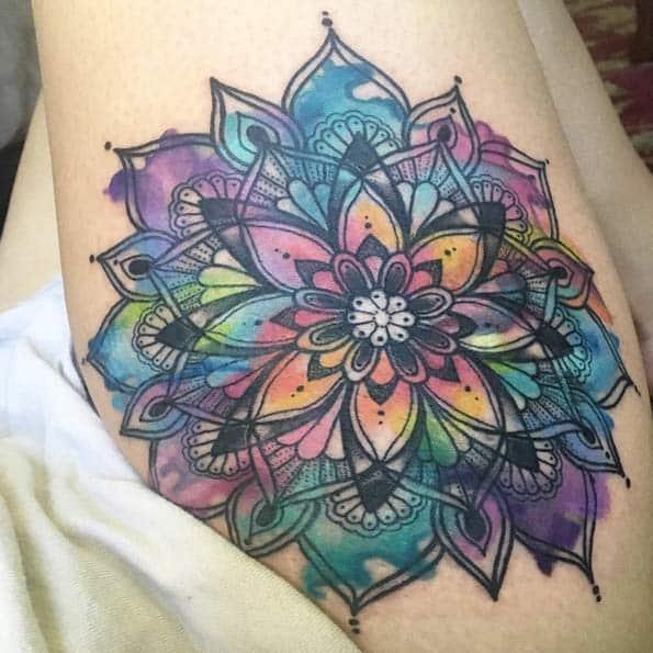 Watercolor mandala flower by Janella