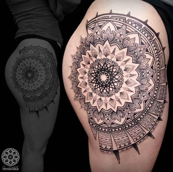 mandala tattoo on upper arm