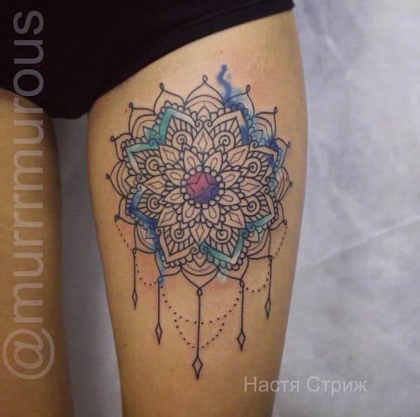 mandala tattoo on upper leg
