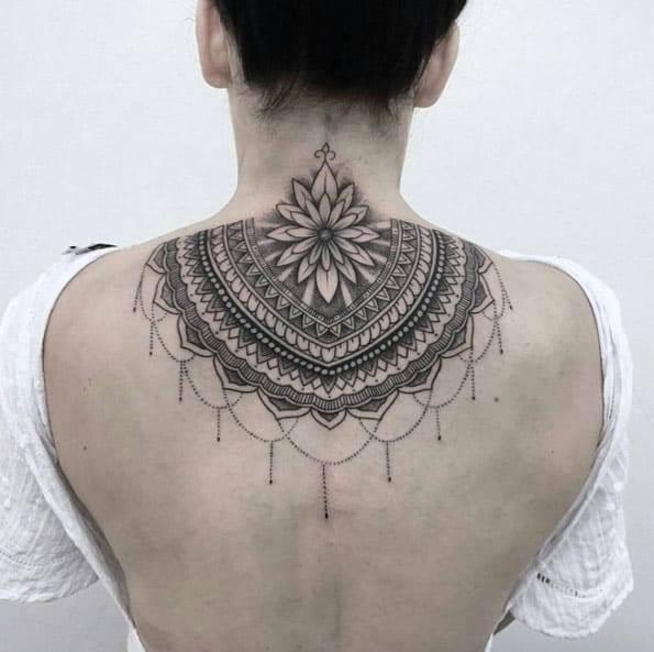 mandala tattoo on back