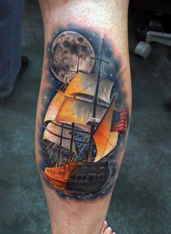 watercolor boat tattoo