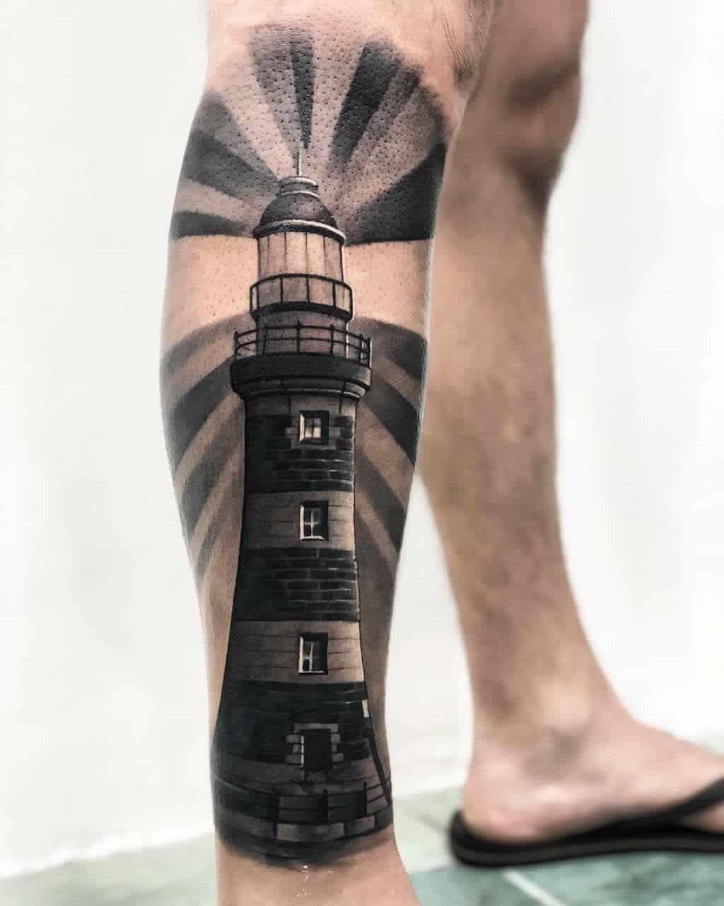 lighthouse tattoo on leg