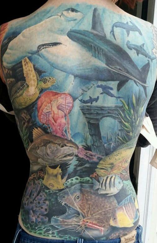 sea creature back tattoo