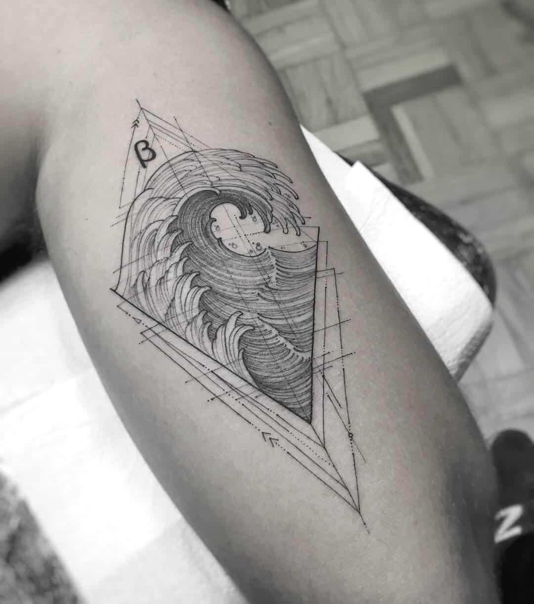 geometric ocean tattoo