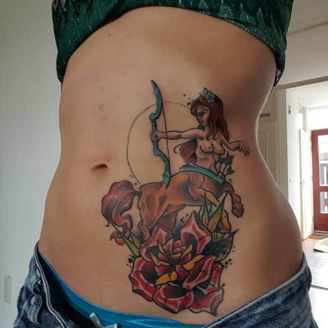 sagittarius rib tattoo