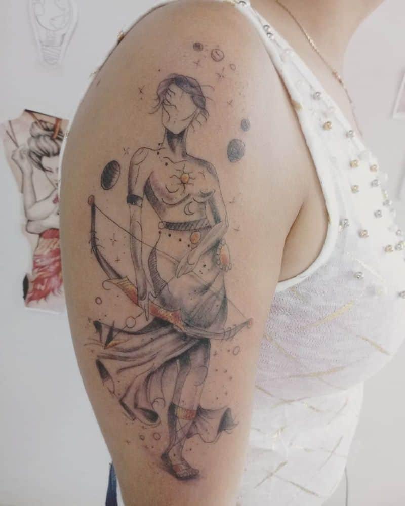 sagittarius arm tattoo on arm