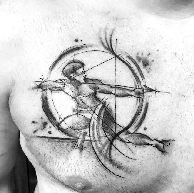 sagittarius chest tattoo