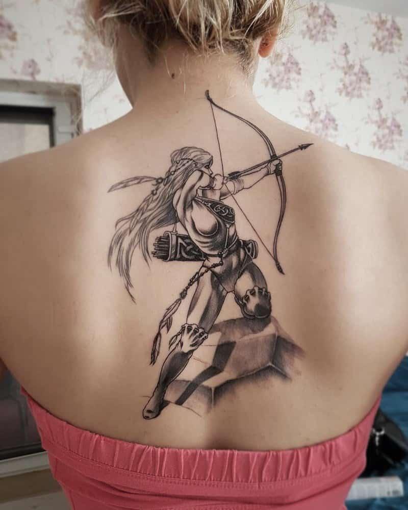 archer sagittarius tattoo on back