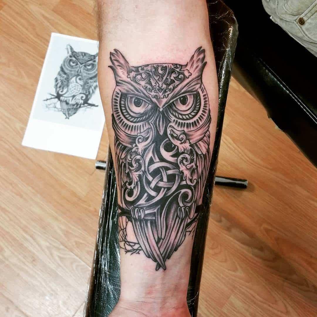 owl celtic tattoo on arm