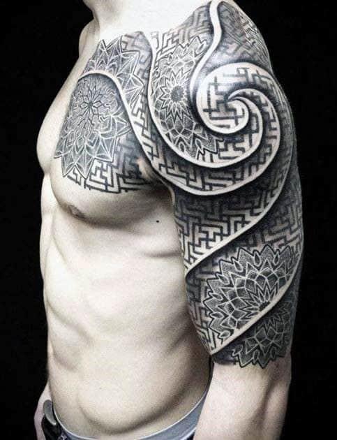 geometric celtic tattoo on arm
