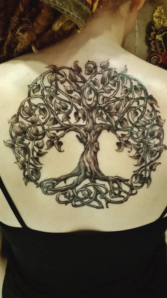 tree of life celtic tattoo on back