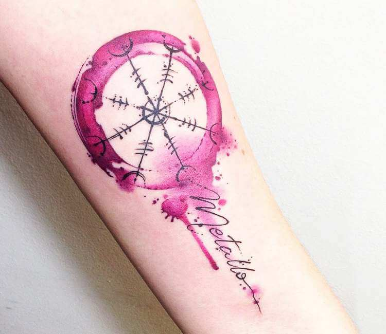 watercolor celtic tattoo on arm